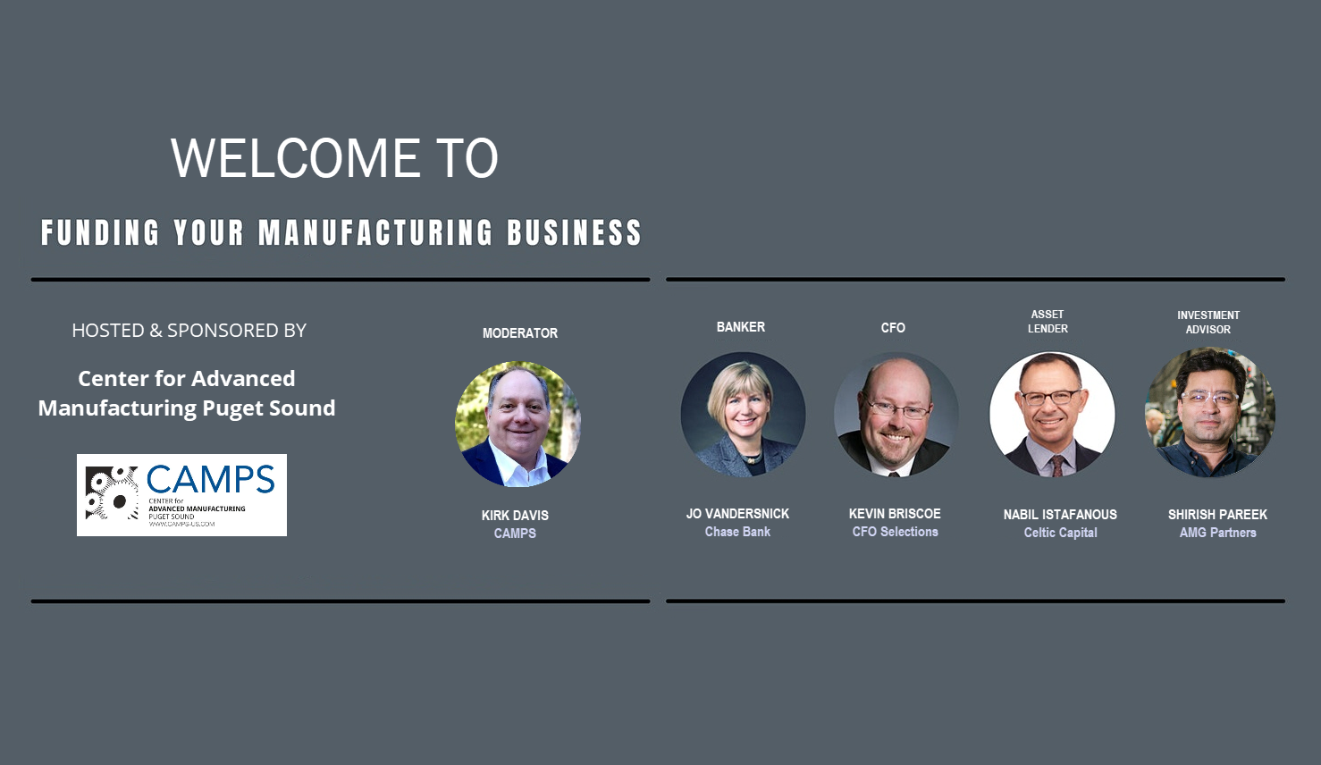 Funding your Manufacturing Business - CAMPS Event